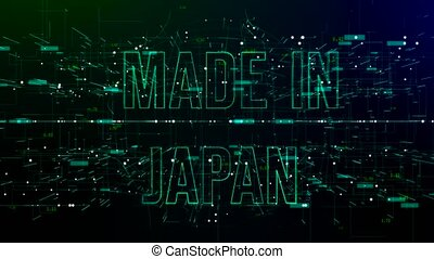 Animation of digital space with 'Made in Japan' text