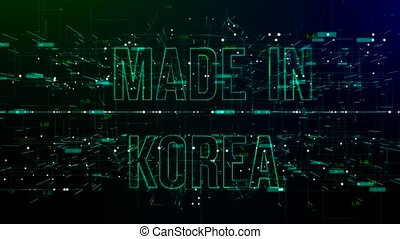 Animation of digital space with 'Made in Korea' text