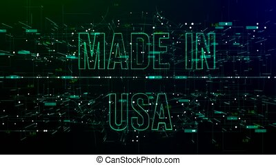 Animation of digital space with 'Made in USA' text