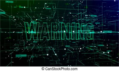 Animation of digital space with 'Warning' text - Animation...