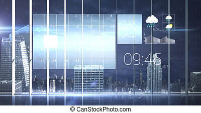 Animation of digital weather, time and data processing over cityscape