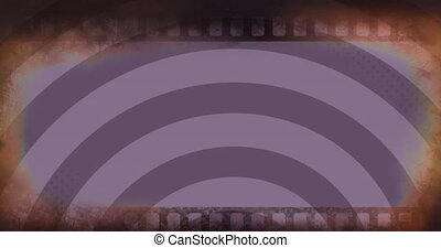 Animation of distressed camera film over pulsating purple bright vibrant stripes moving in hypnotic motion in seamless loop. Repetition abstract and colour concept digitally generated image.