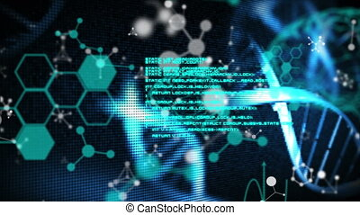 Animation of dna strand, medical data processing and chemical compound structures in the background. global science technology concept digitally generated image.