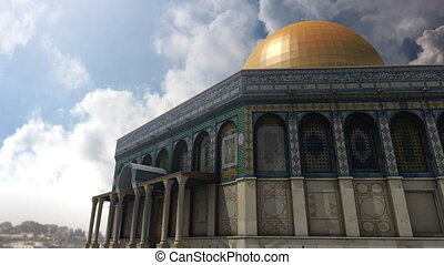 Animation of Dome of the Rock clouds timelapse in Jerusalem...