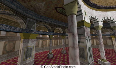 Animation of Dome of the Rock interior in Jerusalem -...
