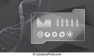 Animation of double helix DNA strand spinning with data ...