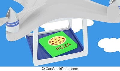 Animation of drone deliver pizza - Animation of drone in the...
