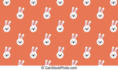 Animation of Easter bunnies moving in rows on orange ...