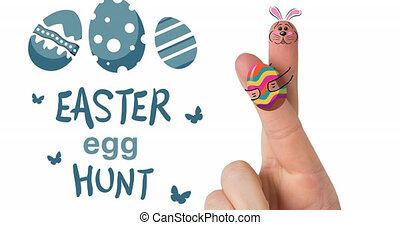 Animation of easter egg hunt and fingers with easter decorations on white background. easter celebration and tradition concept digitally generated video.
