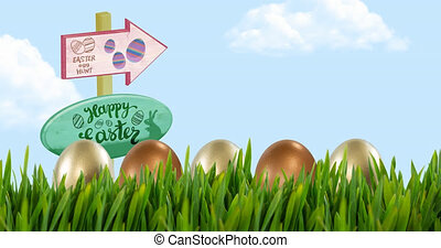 Animation of easter eggs in grass and happy easter and egg hunt text on boards over blue sky. easter tradition and celebration concept digitally generated video.