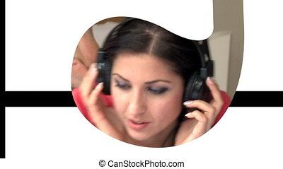 Animation of elegant women listenin