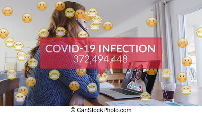 Animation of emojis in face masks, number of covid 19 cases over woman using laptop on video call. Digital interface global covid 19 pandemic and connection concept digitally generated video.