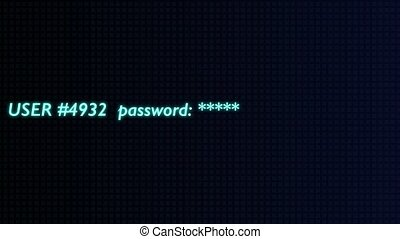 Animation of entering password