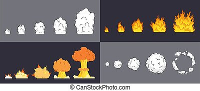 Animation of explosion effect in cartoon comic style. ...