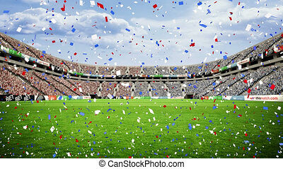 Animation of falling confetti over rugby stadium