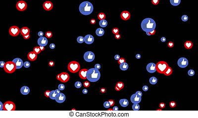 Animation of falling likes and buttons thumbs up on a black...
