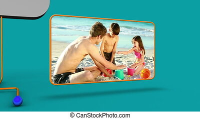 Animation of family videos on the beach against a blue...