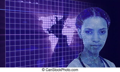 Animation of female doctor with heart rate monitor scanning over grid. digital interface global connection and communication concept digitally generated image.