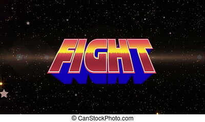 Animation of fight text in red, yellow and blue letters over glowing spotlights and stars