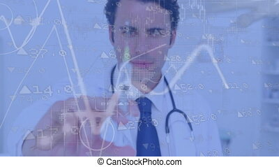 Animation of financial data and charts processing over male doctor holding a syringe