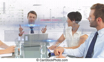 Animation of financial data processing over business meeting