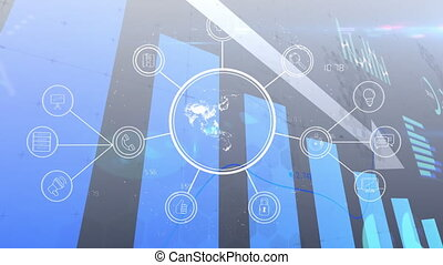 Animation of financial data processing with arrow descending and globe with network of icons. global finance technology digital interface concept digitally generated image.
