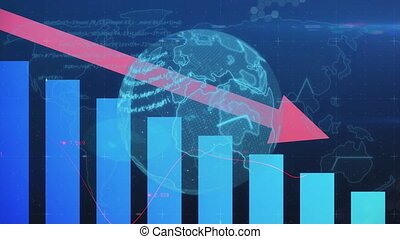 Animation of financial data processing with descending red arrow over globe. global finance technology digital interface concept digitally generated image.
