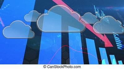 Animation of financial data processing with pink descending arrow and digital clouds. global finance technology digital interface concept digitally generated image.