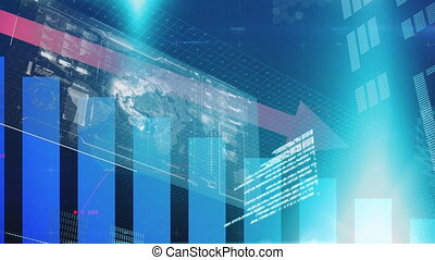 Animation of financial data processing with red arrow descending over world map. global finance technology digital interface concept digitally generated image.