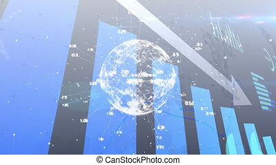 Animation of financial data with arrow descending processing and globe of network connections. global finances network digital interface concept digitally generated image.