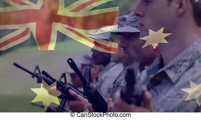 Animation of flag of australia over soldiers. global patriotism, armed forces and protections concept digitally generated video.