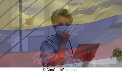 Animation of flag of colombia and statistics with female doctor with tablet taking off mask. Healthcare and protection during coronavirus covid 19 pandemic, digitally generated video.