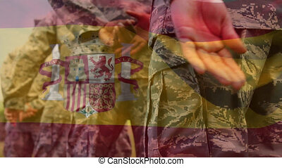 Animation of flag of spain over soldiers. global patriotism, armed forces and protections concept digitally generated video.