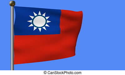 flag of taiwan on blue sky