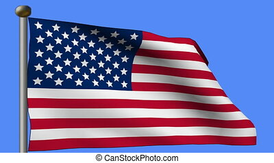 animation of flag of united states of america in blue sky background