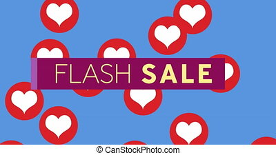 Flash Sale text on purple banner against red hearts icons on blue background