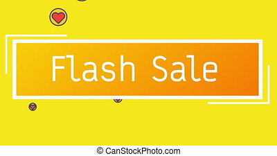 Animation of Flash Sale text on rectangle shape against red hearts icons on yellow background. Happy Valentines Day Sale celebration concept digitally generated image.