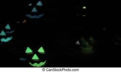 Animation of flashing flying multicolored pumpkins on a black background HD