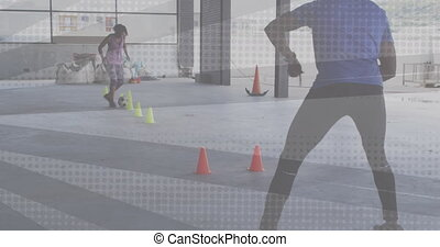 Animation of flashing shapes over woman playing football being coached by a man