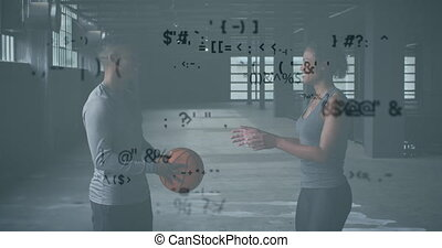Animation of flashing technological icons over man and woman playing with a ball
