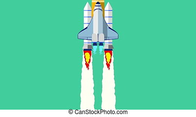 Animation of flat style spaceship rocket flying green background