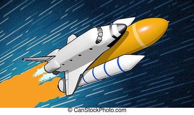 Animation of flat style spaceship rocket flying