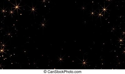 Animation of flickering defocused balls and stars on a black background HD