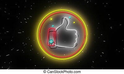 Animation of flickering neon digital thumbs up like icon in a glowing circle