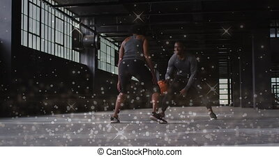 Animation of floating shiny dots over man and woman playing basketball