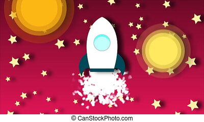 Animation of flying cartoon rocket with view from cosmos. Seamless loop