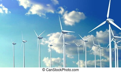 Animation of flying with wind turbines in clouds