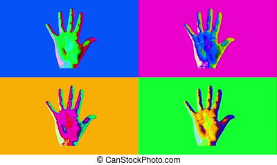 """""""Animation of four human hands in vivid colors"""" - """"A popular..."""