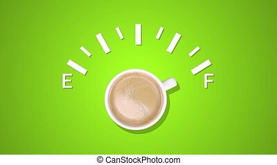 Animation of fuel indicator, showing fuel level with cup black coffee at green background. Coffee creative idea background. Loading status bar. Modern Web icon. Graphic animation style with doodle cup coffee