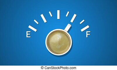 Animation of fuel indicator, showing fuel level with cup coffee at blue background. Coffee creative idea background. Loading status bar. Modern Web icon. Graphic animation style with doodle cup coffee